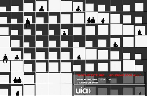 World Architecture Day poster by Huda Gharandouqa from Jordan. Image courtesy of UIA.