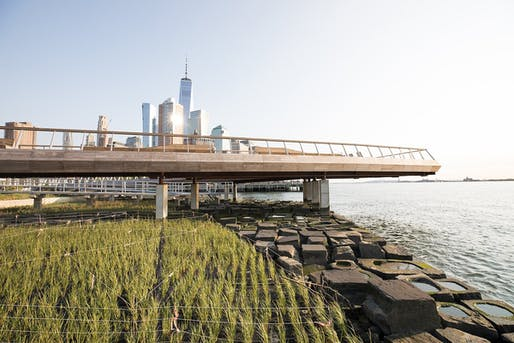 "Hudson River Park's new Pier 26 with Lower Manhattan in the background. Image via Hudson River Park/<a href=""https://twitter.com/HudsonRiverPark/status/1311365163086471168"">Twitter</a>."