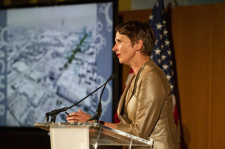 Christine Binswanger of Herzog & De Meuron. Photo courtesy of Mies Crown Hall Americas Prize/IIT.
