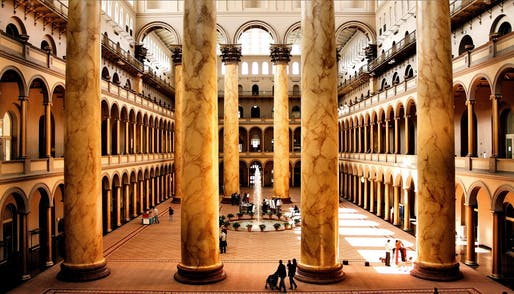 The Great Hall of the National Building Museum before renovation. Image via flickr user Phil Roeder