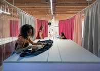 Krill-o.r.c.a. has designed a pink and grey work-learning space for a vocational school innovation