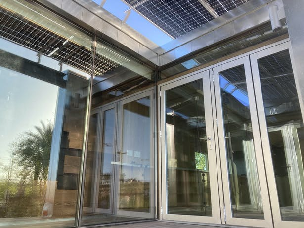 Bifacial panel shades glazing & creates shadows