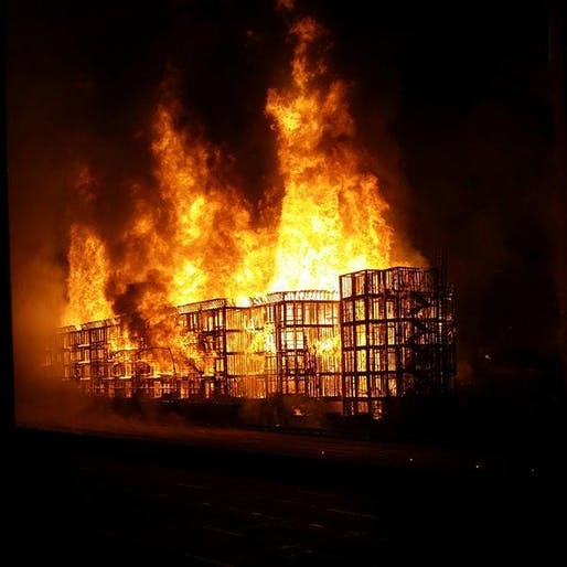 The fire which burned down the Da Vinci Apartments, an unpopular (among architects) 7 story wood construction in its final stages of completion.