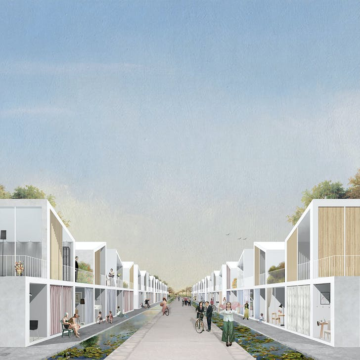 Housing units rendering. Image credit and courtesy of Dingliang Yang.