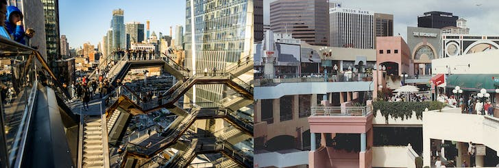 Left: View of the interior of The Vessel, Image courtesy of Raphe Evanoff. Right: Interior view of Horton Plaza, Image courtesy of David Marshall, AIA.