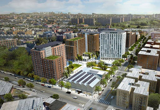 Aerial rendering of the proposed Peninsula affordable housing project. Image courtesy of WXY architecture + urban design.