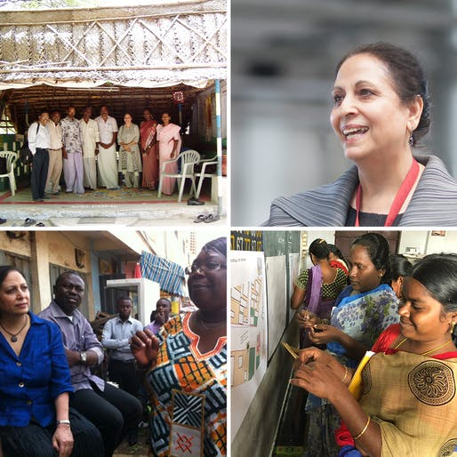 IMAGES, clockwise from upper right: * Geeta Mehta - photographed by Sytse de Maat * Women in Amaravati incentivized through Social Capital Credits (SoCCs) to design and become custodians for the public spaces in their village - photographed by Geeta Mehta * A SoCCratic Dialogue with Abenaa Boateng and her Bantama Market community underway in Kumasi, Ghana - photographed by Joe Addo * User-designed and built housing in Tamil Nadu, supported by MSSRF and Asia Initiatives - photographed by Dr...