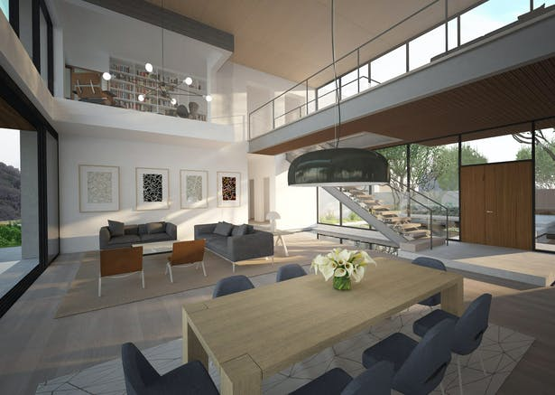 Double height main living and dining space. A bridge connects the two bedroom wings on the upper level. Cantilevered out over the living area is the private office of the master suite.