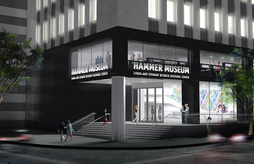 Preliminary rendering of the Hammer's new corner entrance, located in Los Angeles, by Michael Maltzan Architecture. Image: Michael Maltzan Architecture.