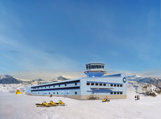 Rendering of the new Discovery Building at the UK's Rothera Research Station. © Hugh Broughton Architects, BAM, BAS.
