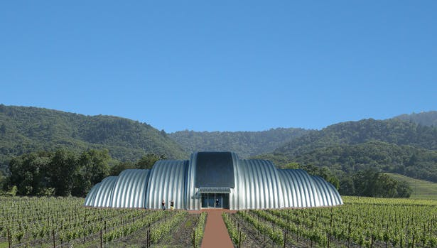 A solar powered winery made of steel agricultural building components.