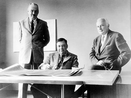 From left to right: John Merrill, Nathaniel Owings, and Louis Skidmore. Photo courtesy of SOM