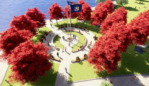 Rendering of the originally proposed essential workers memorial in Battery Park. Courtesy the Office of Governor Andrew Cuomo