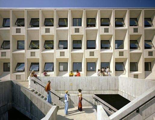 Marcel Breuer's Madison Park High School in Boston: Brutal or 'Heroic'? (Photo: Nick Wheeler; Image via citylab.com, Frances Loeb Library, Harvard University Graduate School of Design)