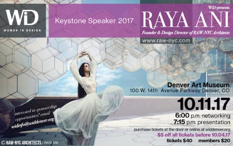 I am invited as keystone Speaker by Women in Design in Denver- Colorado October 11th, 2017 @ Denver Art Museum building designed by Daniel Libeskind! #WID #keystone #speaker #rayaani #rawnycarchitects #denver #colorado #museum #WomeninDesign #women #design