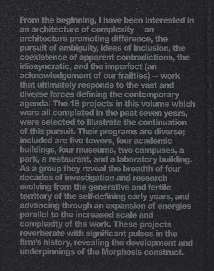 Back Cover of 'M.' Image: Morphosis Architects.