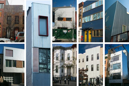 Metal exteriors in Brooklyn may be found on, top row, from left, a condo on Bond Street on the Gowanus-Boerum Hill border; 16th Street, Park Slope; two houses on Sixth Avenue in Park Slope; and Park Avenue in Clinton Hill. Bottom row: Seventh Street and Seventh Avenue in Park Slope; Eighth Avenue near Windsor Terrace; and Wyckoff Street in Boerum Hill. Credit Dave Sanders for The New York Times