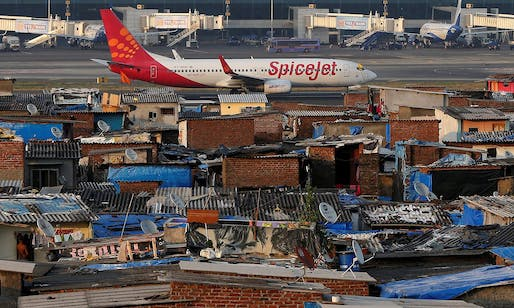 A slum area next to Mumbai airport. Photograph: Shailesh Andrade/Reuters