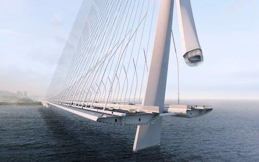 Danjiang Bridge by Zaha Hadid Architects, render by VA.