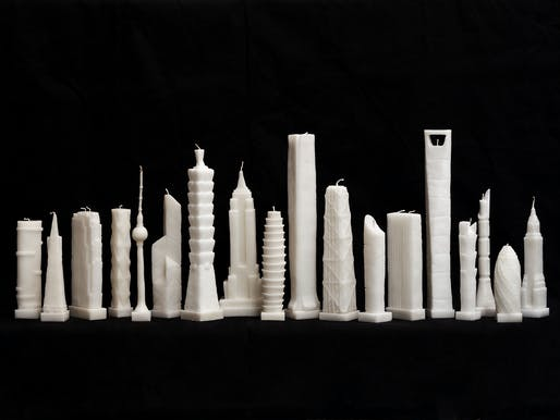 """Flammable"" by architect Jingjing Naihan Li scales down the world's most celebrated skyscrapers into wax candles. Image via naihanli.com"