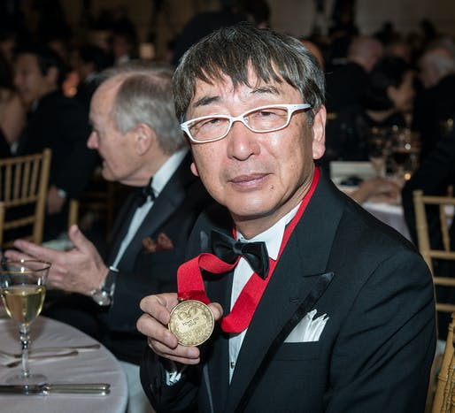 Toyo Ito humbly presenting his Pritzker Architecture Prize medal (Photo: © Rick Friedman)