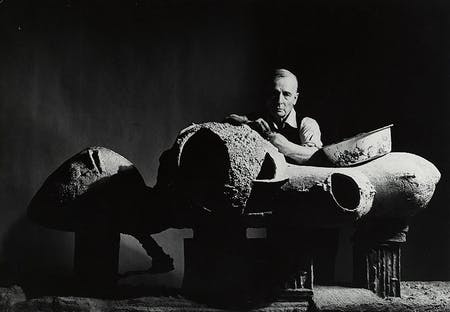 Frederick Kiesler with a model for an 'Endless House,' New York 1959