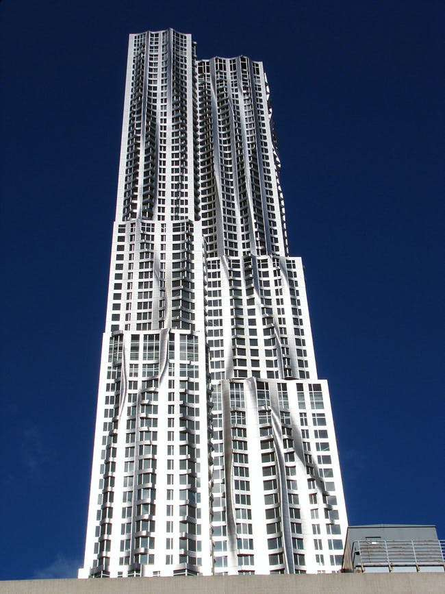 Emporis Skyscraper Award 1st Place winnder 8 Spruce Street, New York City, 265.18 m, 76 floors (Copyright- Courtesy of Gehry Partners)