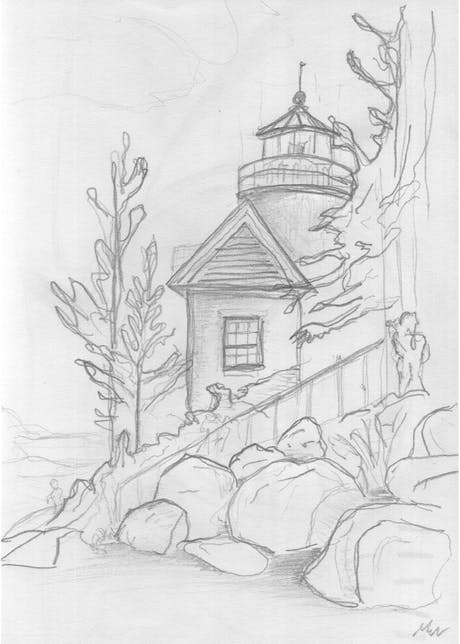 Sketch of a Lighthouse in Bass Harbor, Maine