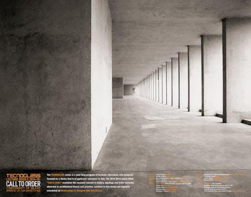 "Photo: Aldo Rossi's ""Housing unit in the Gallaratese 2 Quarter, Milan, the archade, 1986"" by Luigi Ghirri as shown in LUIGI GHIRRI/ALDO ROSSI by Paolo Costantini. Poster courtesy of the University of Miami School of Architecture."