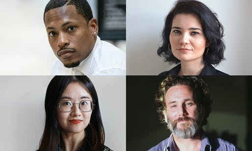 The 2021 Wheelwright Prize finalists (clockwise from top left): Germane Barnes, Iulia Statica, Luis Berríos-Negrón, and Catty Dan Zhang. Images courtesy of Harvard GSD.