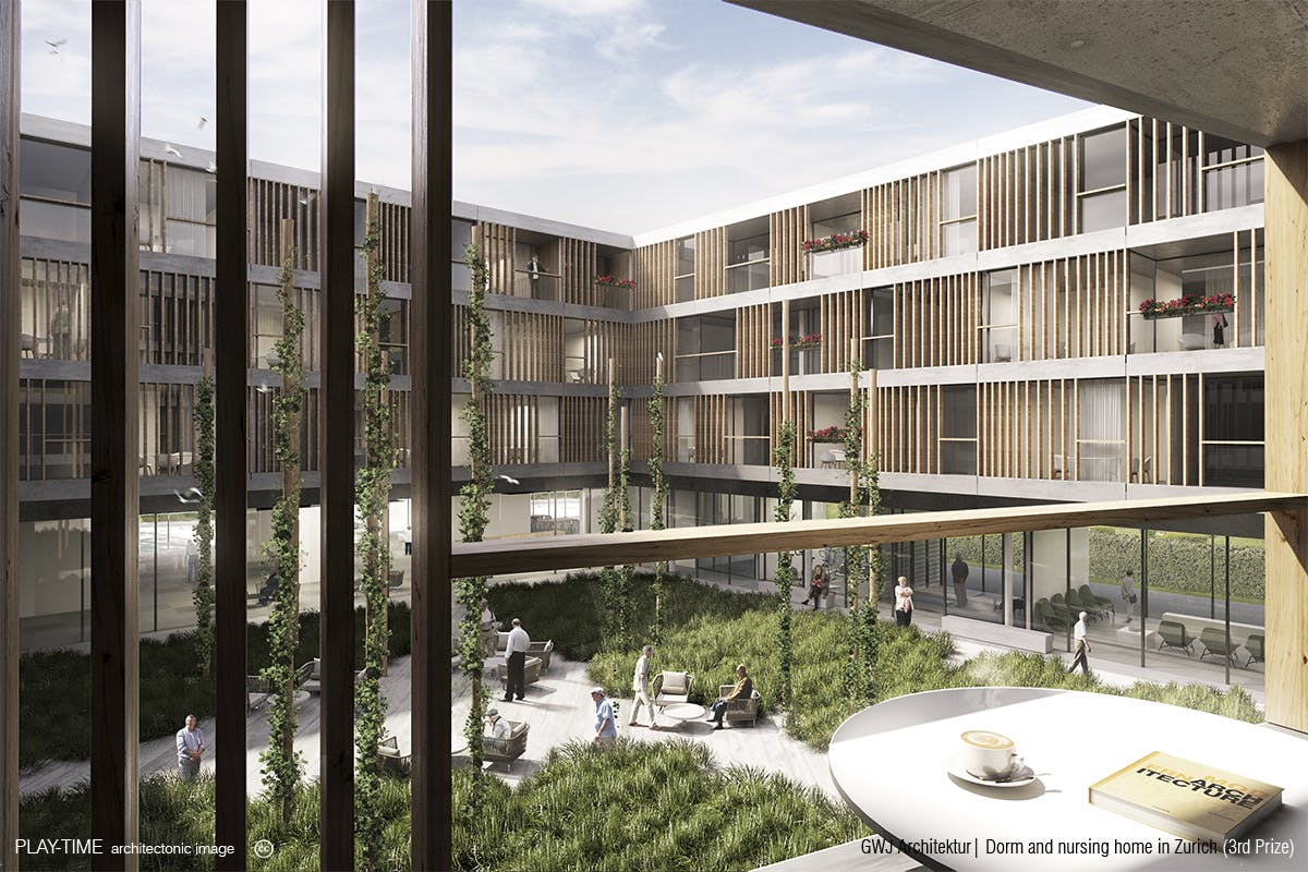 Dorm and nursing home by GWJ Architektur (3rd Prize) | Play-Time ...