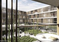 Dorm and nursing home by GWJ Architektur (3rd Prize)