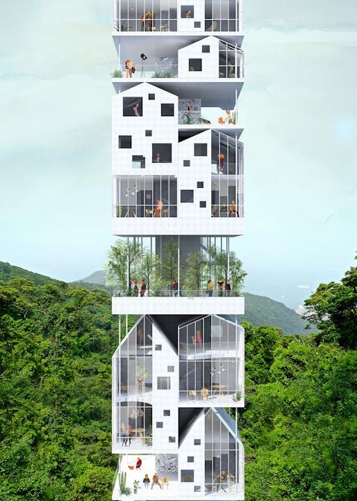 2nd prize: Vertical Village. Project authors: François Chantier, Maria Fernandez | France