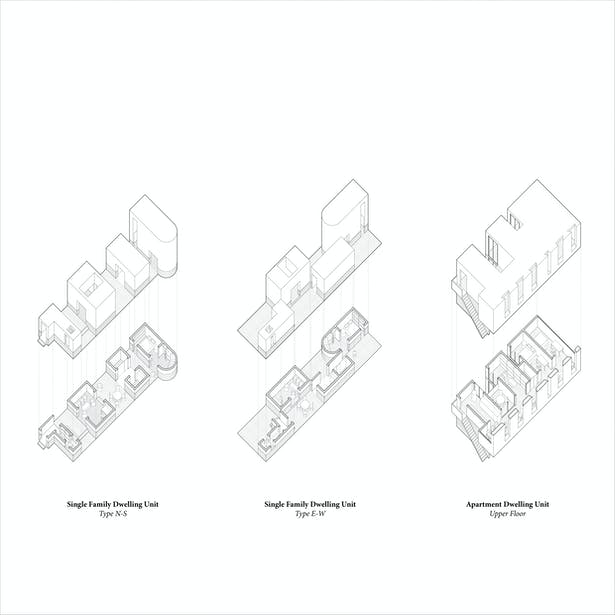 Housing Typologies: Scaling the logic of the courtyard house typology of pavilions and courtyards produces continual layering lending to a diversity of intimate atmospheres within the overall project. Like the Chinese Courtyard typology, there is sequential experience of going through thresholds of indoor and outdoor spaces.