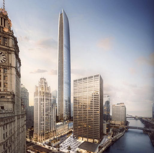 Tribune Tower project rendering, Chicago. Image: Golub & Co. and CIM Group.