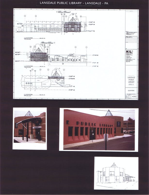 Elevations and photos of the building, initial sketch