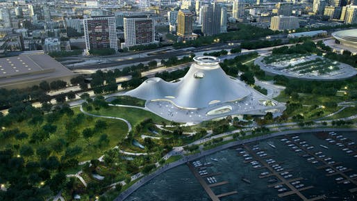 A rendering of the proposed Lucas Museum of Narrative Art. Credit: MAD Architects / Lucas Museum of Narrative Art