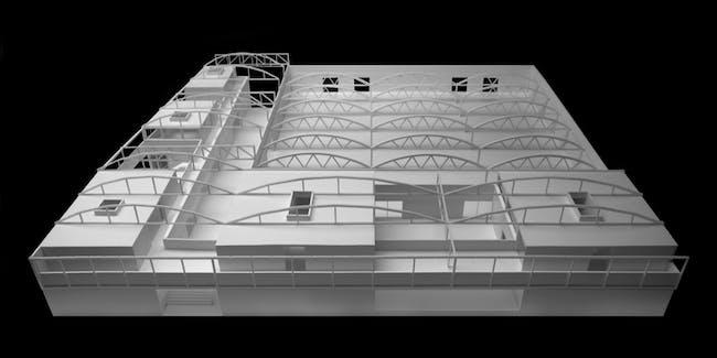 A model of the Graduate Art Studios for UCLA. Credit: Johnston Marklee