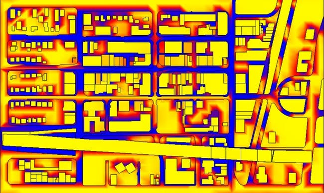 Screenshot of an animation showing a heat map of the Miami Design District
