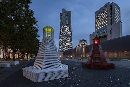Exterior view of the 'Lighthouse in Yokohama' street furniture. Photo: Takeshi Noguchi.