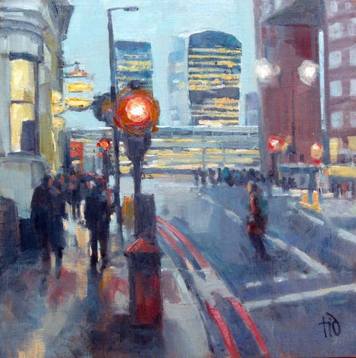 "Image: Marion Wilcocks ""City Towers from London Bridge"", for sale within the exhibition"