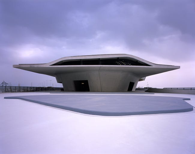 The exterior of the terminal. Image credit: Helene Binet / courtesy of Zaha Hadid Architects