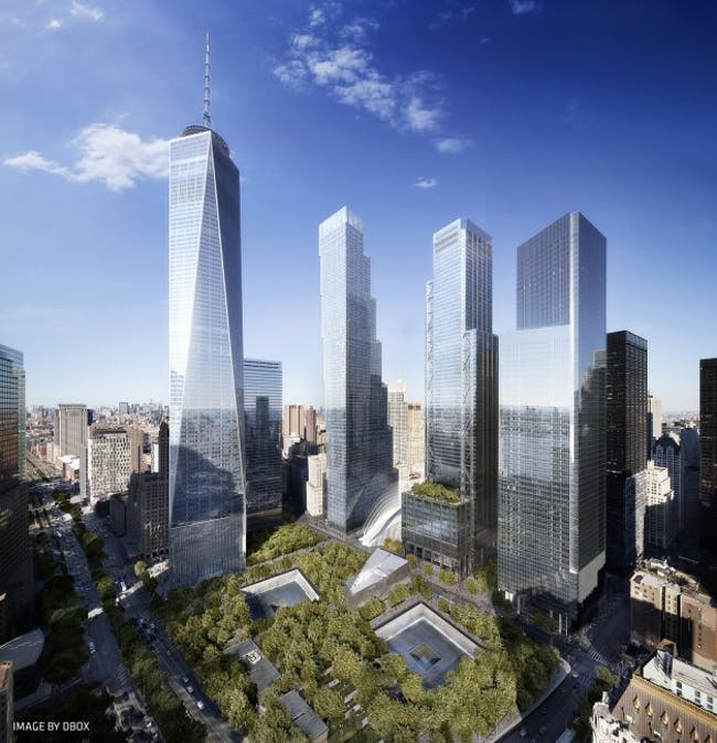 The WTC site masterplan. Credit: DBOX via Studio Libeskind