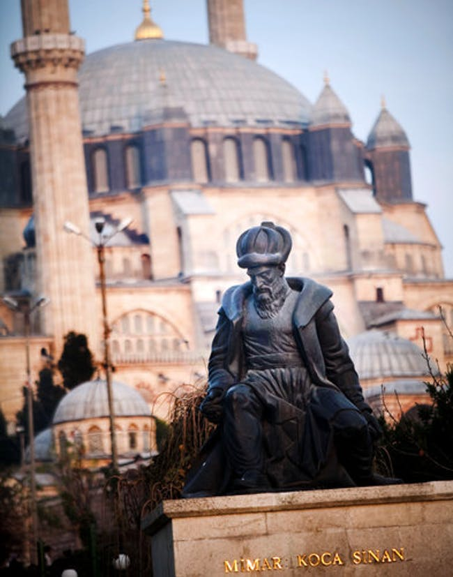 statue of Sinan. This tribute appears in front of the architect's Selimiye Mosque photo by Piotr Redlinski for The New York Times