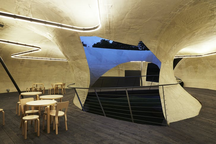 The interior of the Serpentine Gallery Pavilion 2014 by Smiljan Radić. Credit: John Offenbach