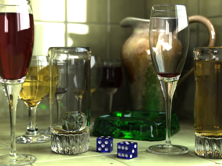 The ashtray, glasses, and pitcher were modeled in Rhino (image 'Glasses 800 edit' by Gilles Tran - Licensed under Public Domain via Wikimedia Commons)