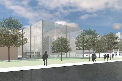 A rendering of the eastward-looking view of M-Air, a netted facility for safely testing drones outside. Construction will begin in August 2017 at the corner of Hayward and Draper on the University of Michigan's North Campus. Credit: Architect and engineering firm Harley Ellis Deveraux