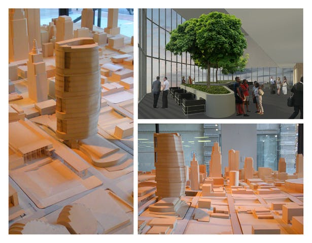 Left and Bottom Right: Presentation model, placed within the Kansas City Design Center city model.