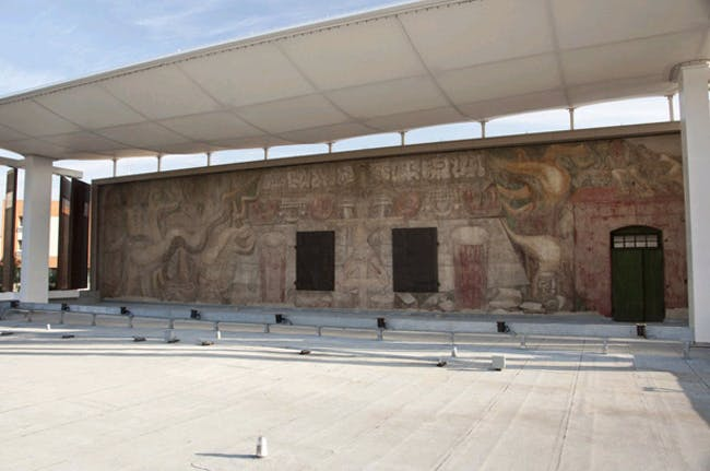Preservation Award: The Siqueiros Mural Protective Shelter, Viewing Platform and the Interpretive Center, Design Architect: Lawrence Scarpa, FAIA Design Architecture Firm: Brooks + Scarpa Architects Executive Architect: Mahmood Karimzadeh, AIA Executive Architecture Firm: City of Los Angeles, Bureau of Engineering, Architectural Division