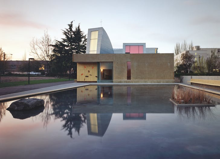 Chapel of St. Ignatius, Seattle, Washington, USA, 1994-1997; view from reflecting pond, 1997. Photo credit: © Paul Warchol